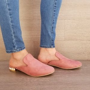 Shoes - Suede Slip On Loafer Mule Pearl Accents on Heel-B